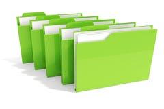 grünes Dossier 3d auf weißem Hintergrund Stockfoto
