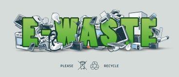 Grünes E-Abfall Zeichen mit elektronischen Geräten Stockbilder
