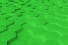 Grünes einfarbiges Hexagon deckt abstrakten Hintergrund mit Ziegeln Lizenzfreie Stockfotos