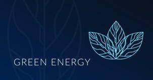 Grünes Energieplakat mit Blatthologrammfirmenzeichen vektor abbildung