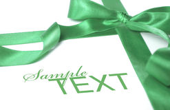 Grünes Farbband des Geschenks Stockbilder