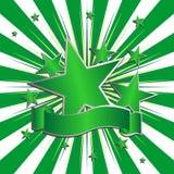 Grünes Farbband mit Sternen Stockbilder