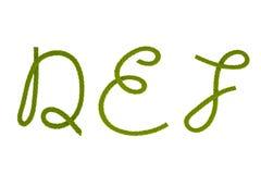 Grünes Faserseil D, E, F lizenzfreie stockbilder