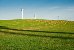 Grünes Feld der Windturbinen Stockfotos