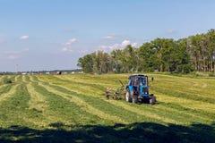 Grünes Feld im Sommer von LKW fahrend nahe bei dem Mähdrescher Lizenzfreies Stockbild