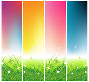 Grünes Feld mit Basisrecheneinheiten, Tageszeiten Stockfotos