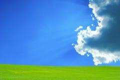 Grünes Feld mit blauem Himmel und Wolken Stockbild