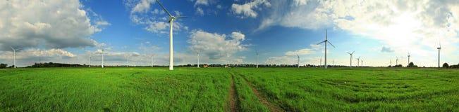 Grünes Feld mit Windkraftanlagen, Wolken, blauer Himmel Stockbilder