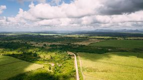 Grünes Feld und blauer Himmel Straße in der Mitte Stockfoto