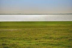 grünes Feld und Fluss Stockfoto