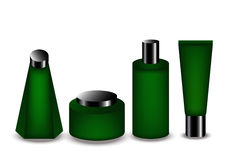 Grünes Flaschenprodukt für Kosmetik und Badekurort vektor abbildung