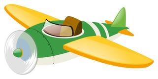 Grünes Flugzeug mit gelben Flügeln Stockbilder