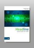 Grünes futuristisches Internet HUD-Abdeckungsdesign Vektor Stockbilder