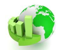Grünes Geschäftsdiagramm auf Pfeil um Erdkugel Stockbild