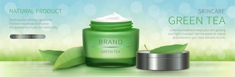 Grünes Glasgefäß mit natürlicher Creme stockfotografie