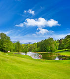 Grünes Golffeld mit blauem Himmel stockfoto