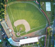 Grünes Gras auf Baseballfeld Stockbilder