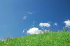 Grünes Gras, der blaue Himmel und weiße Wolken Stockbild