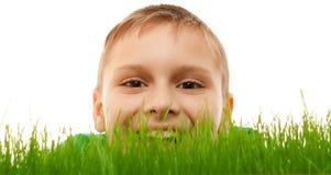 Grünes Gras des glücklichen Lächelns der Kinderkinderjungengesichtsnahaufnahme lokalisierte Weiß Stockfoto