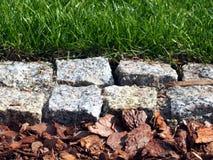 Grünes Gras, Granitpflasterung und Barkenchipnahaufnahme Lizenzfreie Stockfotos