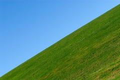 Grünes Gras, Hintergrund des blauen Himmels Stockfotografie