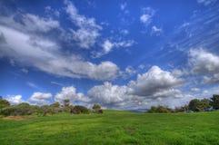 Grünes Gras-Landschaft und blauer bewölkter Himmel HDR Stockfotografie