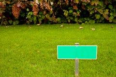 Grünes Gras mit einem Zeichen und einem Busch Stockbild