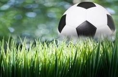 Grünes Gras mit Fußballfußball lizenzfreies stockbild