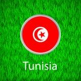 Grünes Gras und Kreis mit Flagge von Tunesien Lizenzfreies Stockfoto