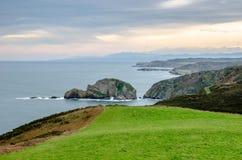 Grünes Gras vor der epischen Küstenlinie von Asturien bei Cabo lizenzfreies stockbild