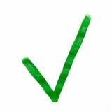 Grünes Häkchen gemalt Lizenzfreie Stockbilder