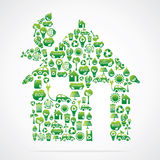 Grünes Haus ist Auslegung mit eco Naturikonen vektor abbildung
