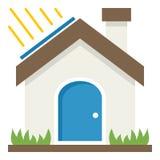 Grünes Haus-Konzept-flache Ikone auf Weiß lizenzfreie abbildung