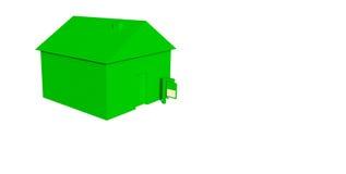 Grünes Haus mit Zeichen lizenzfreie abbildung