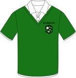 Grünes Hemd mit Blasenaufkleber Stockbilder
