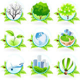 Grünes Ikonen-Set Stockfoto