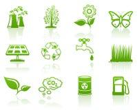 Grünes Ikonenset der Umgebung Stockbilder