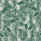Grünes Kiefer-Wand-Zeichnungs-nahtloses Muster Stock Abbildung
