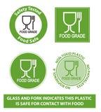 Grünes Lebensmittel-Gradplastiksymbol, lokalisiert Stockfoto