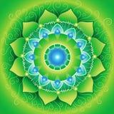 Grünes mandlala von anahata chakra Stockbilder