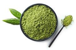 Grünes matcha Teepulver Stockbilder