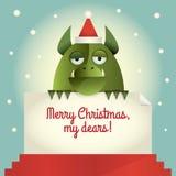 Grünes Monster-frohe Weihnachten Lizenzfreie Stockfotografie