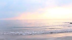 Grünes Moos, das auf Seefelsen mit der Welle des Meerwassers herauf den Strand wächst stock video