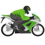 Grünes Motorrad mit Radfahrer Stockfotografie