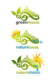 Grünes Musiklogo, Naturschlagsymbol und Naturmusikikone entwerfen Stockfotos