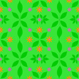 Grünes Muster blüht orange purpurrote Blattgraphiken Lizenzfreie Stockfotos