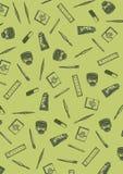Grünes Muster mit Kunstwerkzeugen entziehen Sie Hintergrund Lizenzfreie Stockbilder