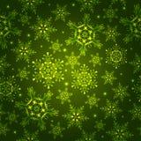 Grünes Muster mit Schneeflocken, Lizenzfreie Stockfotografie