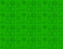 Grünes nahtloses Finanzgeschäftshintergrundmuster mit Geldikonen Lizenzfreies Stockbild