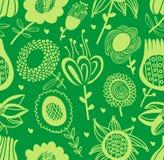 Grünes nahtloses mit Blumenmuster Stockfotografie